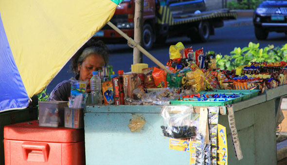 Photo of a sidewalk vendor