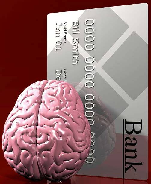 Photo of brain over a credit card