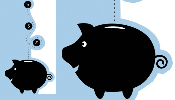 Illustration of piggy bank with coins dropping in