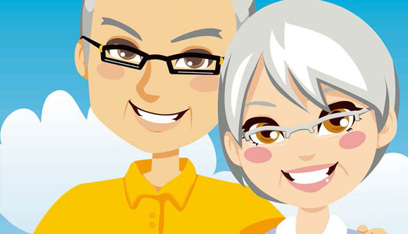 Cartoon Illustration of Old Couple