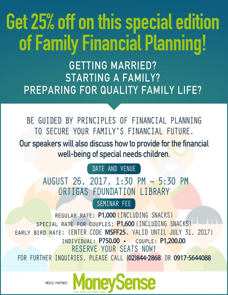 Family Financial Planning Aug 2017 1:30-5:30pm Ortigas Foundation Library poster